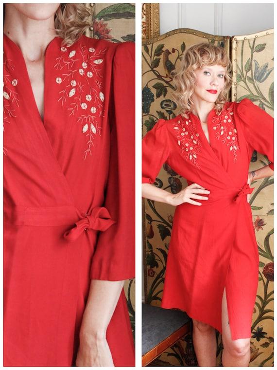 1940s Dress // Lipstick Red Wrap Dress // vintage