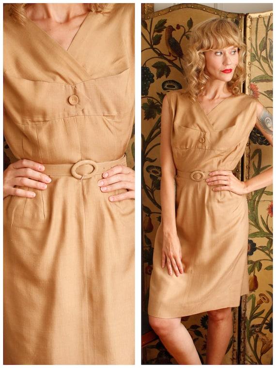 1950s Dress // Gold Silk Sheath Dress // vintage 5