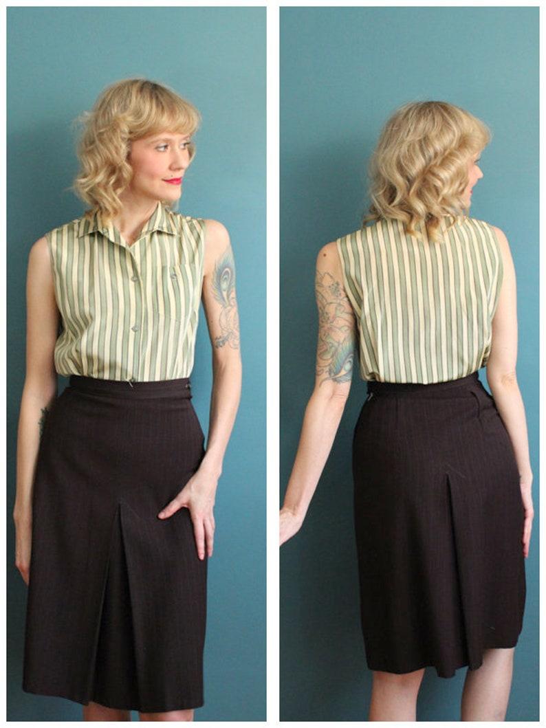 1940s Skirt // Pinstripe Wool Skirt // vintage 40s skirt image 0