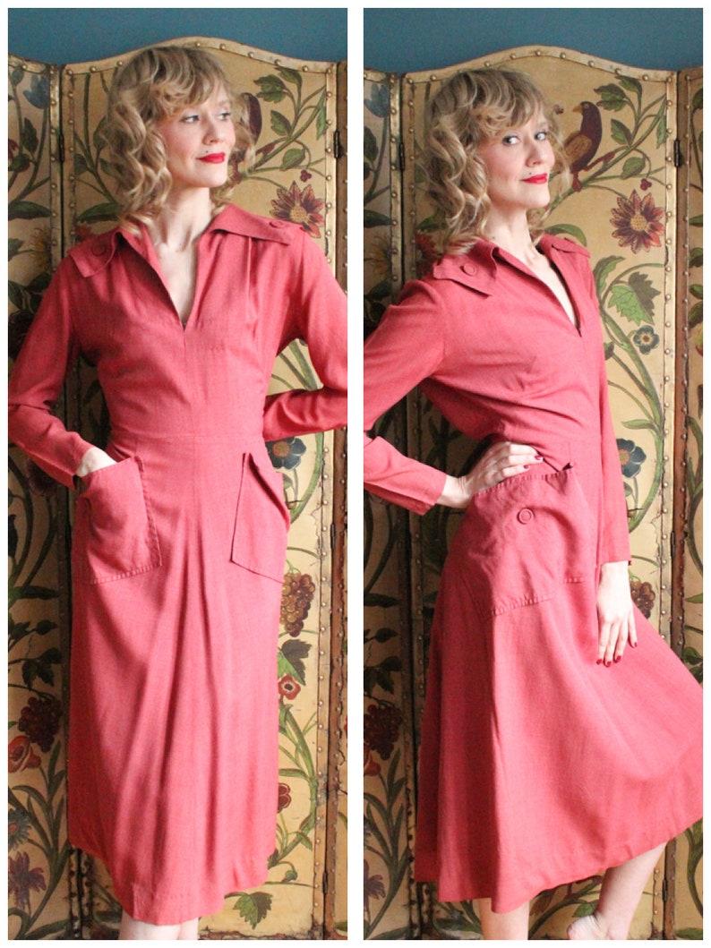 1940s Dress // Rouge Gabardine Dress // vintage 40s dress image 0