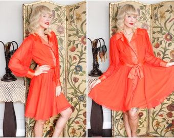 1960s Dress // Chiffon Elinor Gay Tangerine Dress // vintage 60s dress