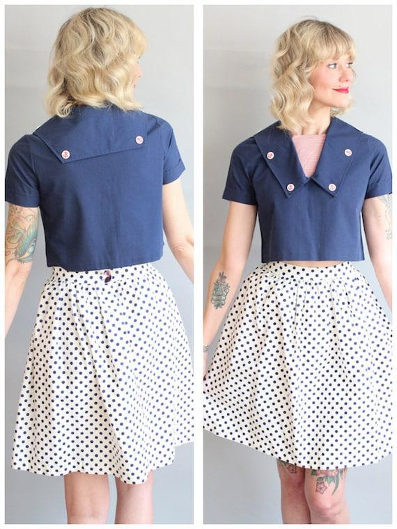 1960s Skirt // Mini Polka Dot Skirt // vintage 60s