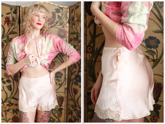 1930s Tap Shorts // Yvonne Silk Pink Tap Shorts //