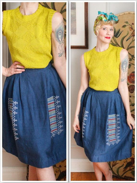 1950s Skirt // Greek Woven Summer Skirt // vintage