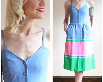 1970s Dress // Malia Stripe Cotton Dress // vintage 70s dress