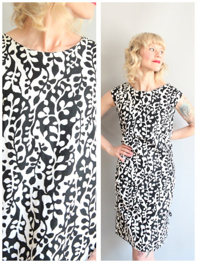 1960s Dress // Don-About Leaf Print Pique Cotton Dress // image 0