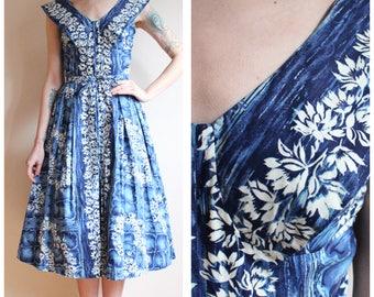 1950s Dress // Hawaiian Nani Floral Dress // vintage 50s Hawaiian dress