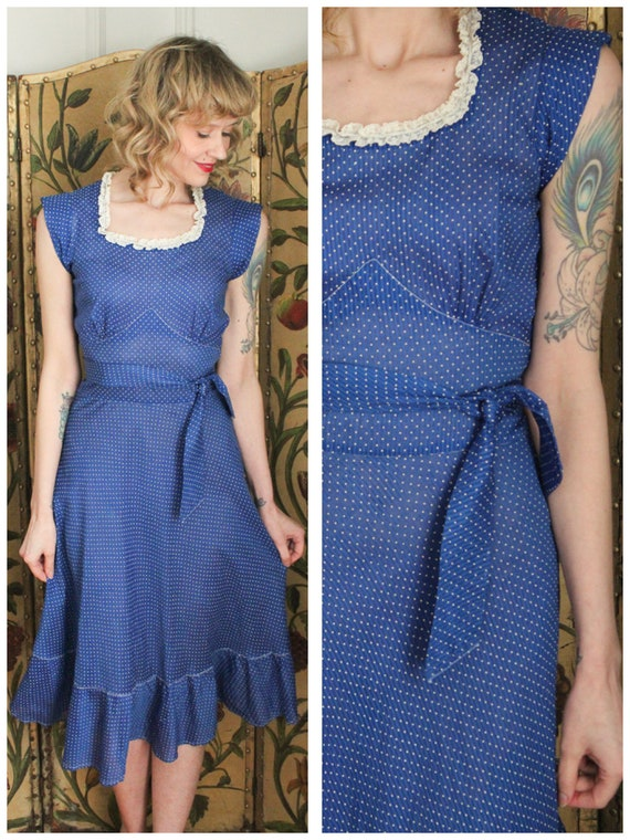 1930s Dress // Swiss Dot Cerulean Cotton Dress //