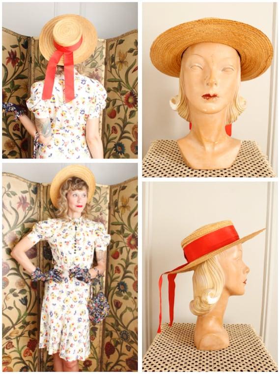 1940s Hat // Italian Straw Cartwheel Hat // vintag