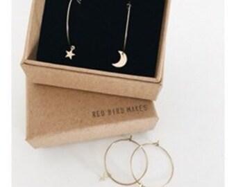 Stars + Moon Hoop Earrings