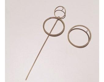 The Asymmetric Pairing - 'Vivienne' Dangly + 'Frida' Chunky Brass Hoop Stud