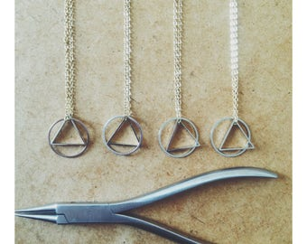 Long Geo Brass Pendant Necklace