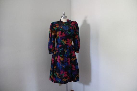 1980's Pauline Trigere Floral Dress