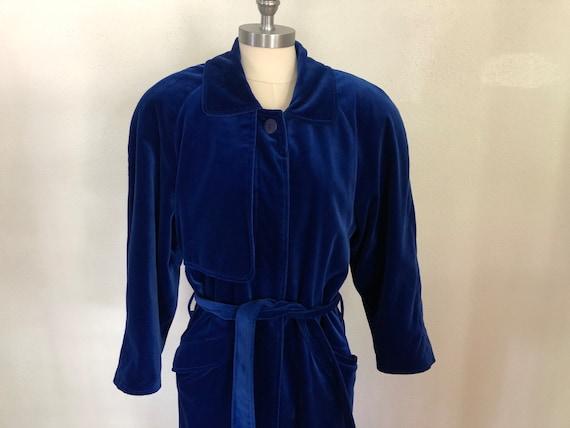1980's Royal Blue Velour Coat | Power Coat | Velve