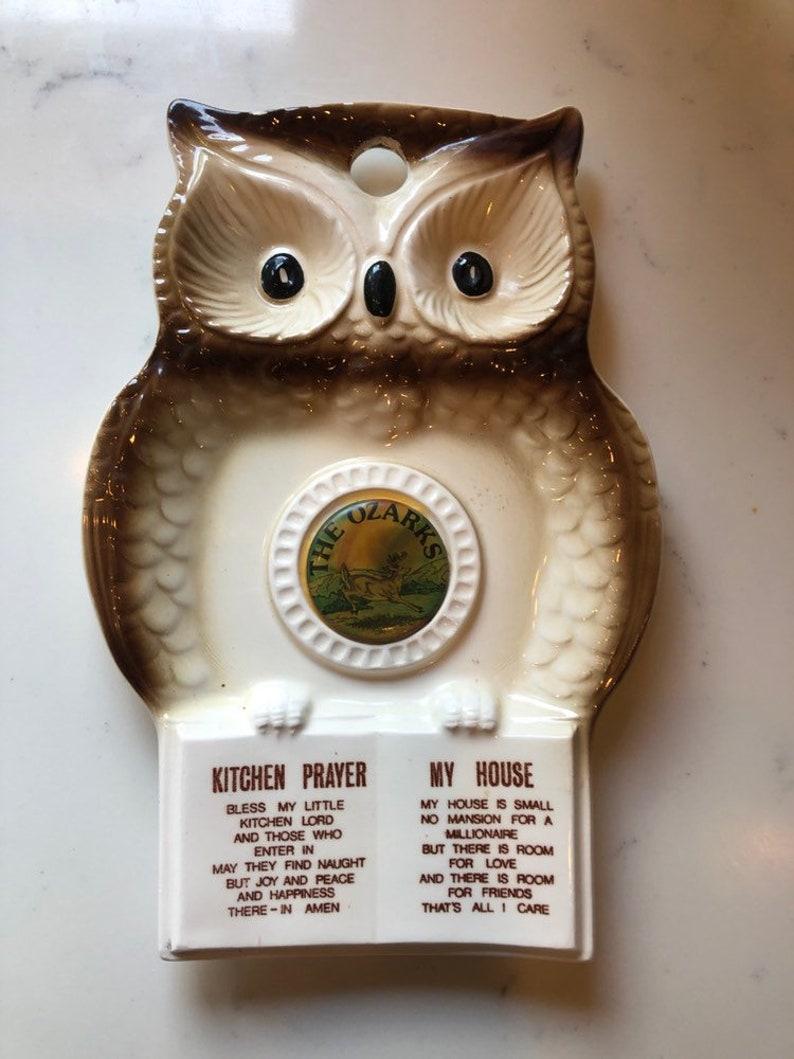 Vintage Owl Kitchen Prayer Spoon Rest from Ozarks