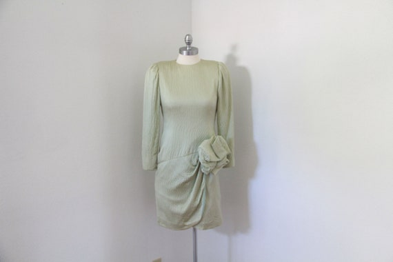 Lawrence Light Green Mint Silk dress Vintage 1980'