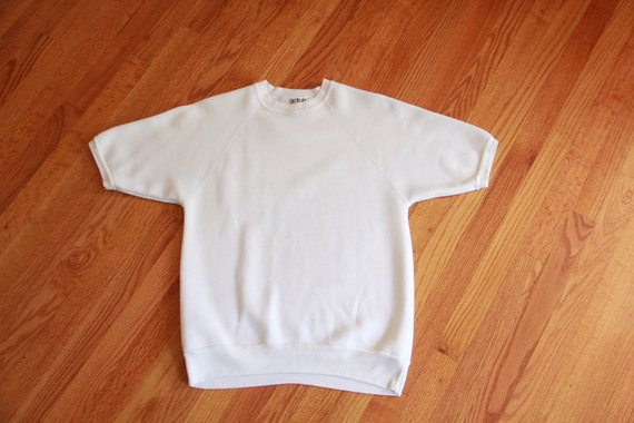 Short sleeve Sweatshirt White  | 1980's Vintage An