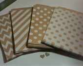 25 Flat Paper Bags Kraft with White design Polka Dot Chevron Stripes All Occasions Junk Journals