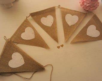 Burlap Pennant Bunting with White Heart Design ~ 2.75m ~ * Wedding *Baby & Bridal Shower *Beach Party