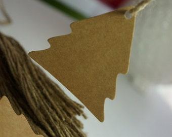 20 Quality Kraft Gift Tags Diecut Christmas Trees 55mm blank DIY + Twine *Christmas*