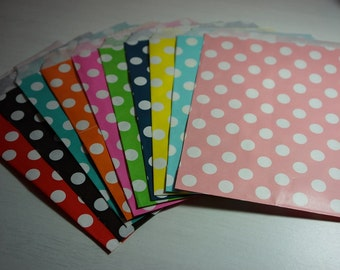 12 Flat Paper Bags 180mmx130mm ~ Polka Dot Design ~ *Favours *Loot *Markets *Gifts