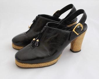 adea47ccdb3 Vintage 1970s Platform Mules   Black 1970s Shoes   Vintage Mules   Size 5  Mules   Size 5 1 2 Mules   Platform Mules   Vintage Shoes Size 5