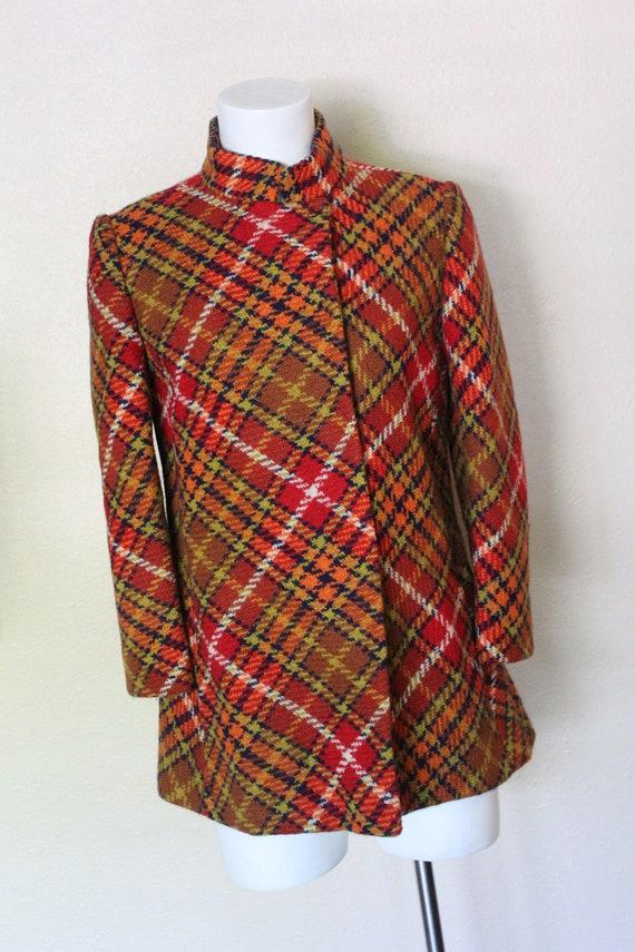 Vintage 1960s Wool Suit Shadow Tartan Plaid Sz S W24