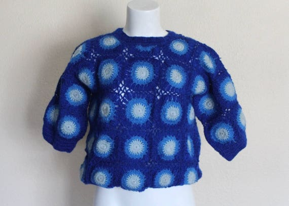 Vintage Granny Square Crocheted Top / Vintage Gran