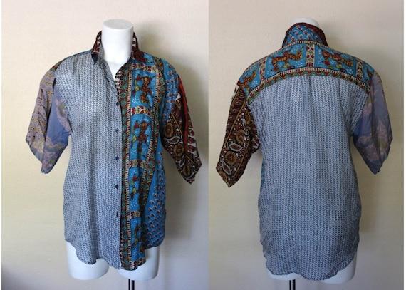 Vintage Indian Silk Patchwork Top / Silk Patchwork