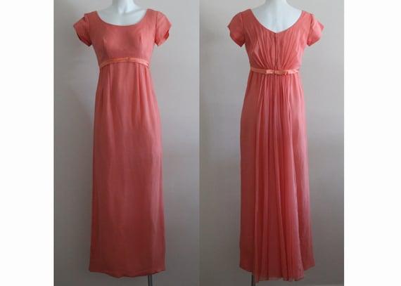 Vintage 1960s Silk Coral Chiffon Dress / Vintage C