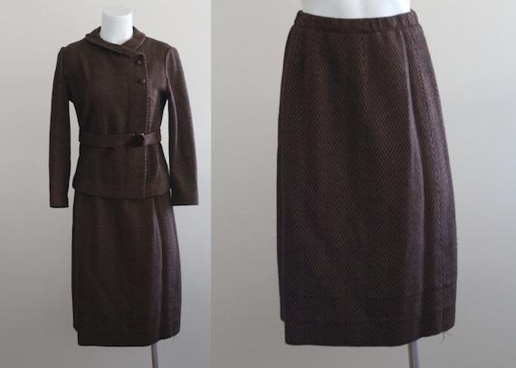 Vintage 1960s Herringbone Two Piece Suit / Vintage