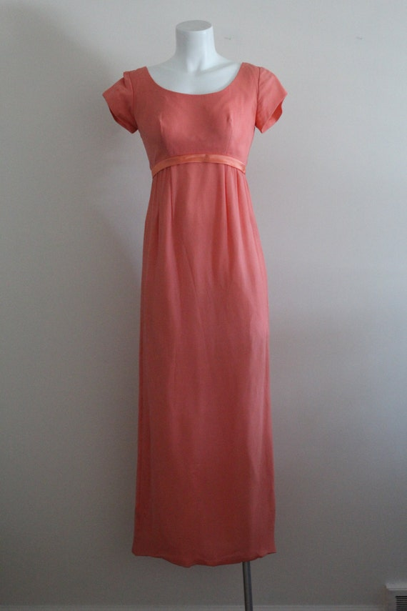 Vintage 1960s Silk Coral Chiffon Dress / Vintage … - image 2