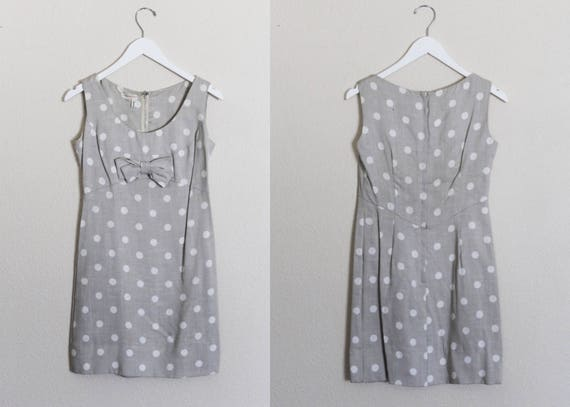 Vintage 1960s Linen Polka Dot Mini Dress / Vintage