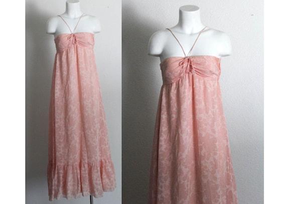 Vintage 1970s Pink Halter Maxi Dress / Vintage 197