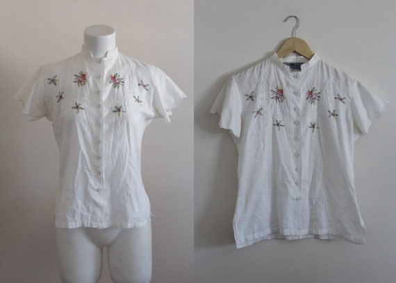 Vintage Embroidered Cotton Blouse / Indian Cotton