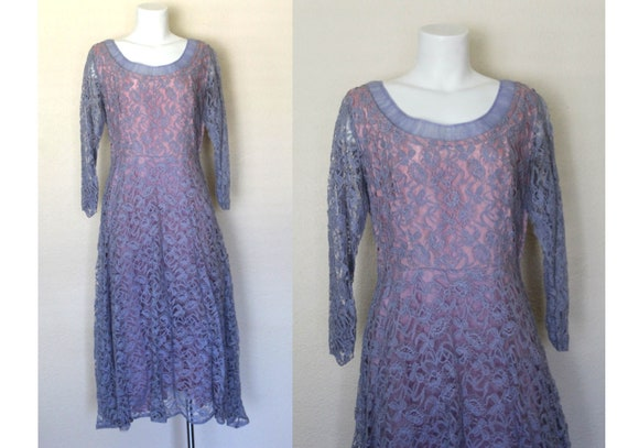 Vintage 1960s Violet Lace Dress / Purple Lace Dres