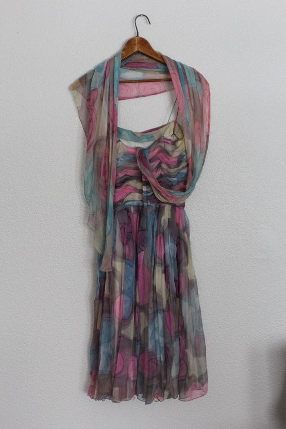 Vintage 1950s Floral Silk Chiffon Dress / 1950s S… - image 4