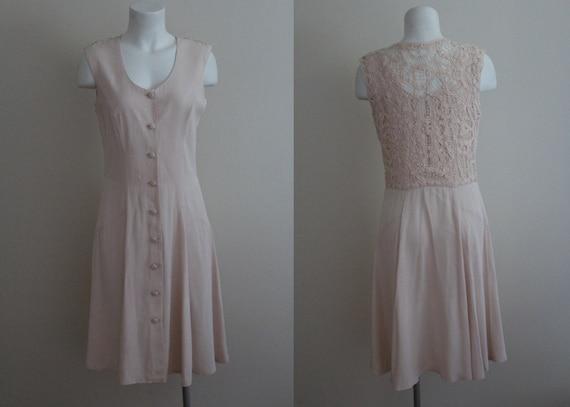 Vintage Pastel Pink Lace Dress / Vintage Pink Dres
