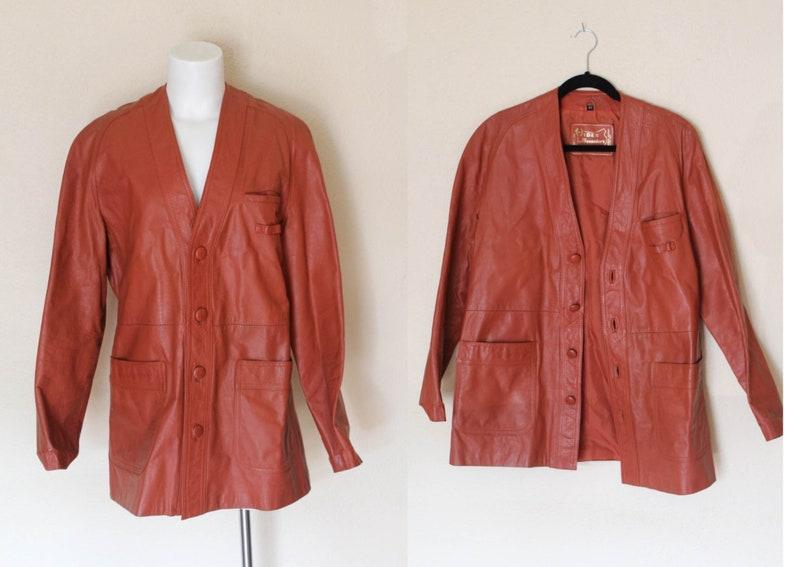 Des 1970 Cuir Années Veste Orange 70 S En Homme Vintage Brûlé Pour nOk0wP8
