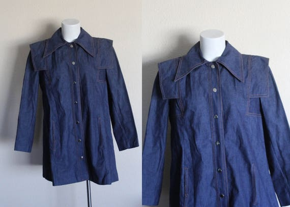 Vintage Denim Jacket / Denim Swing Coat / Denim Sw