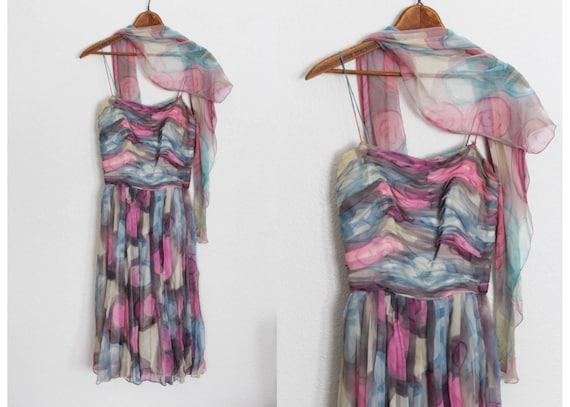 Vintage 1950s Floral Silk Chiffon Dress / 1950s S… - image 1