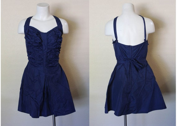 Vintage 1950s Swimsuit / 1950s Skirted Swimsuit /