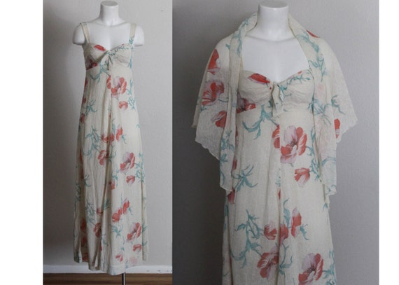 Vintage 1970s Neiman Marcus Cotton Maxi Dress / Co