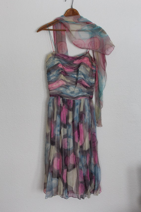 Vintage 1950s Floral Silk Chiffon Dress / 1950s S… - image 2