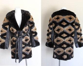 Vintage 1970s Mink and Leather Patchwork Coat / Vintage Mink Fur Coat / Vintage Mink Coat / Vintage 1970s Mink Fur Coat / Size S / M