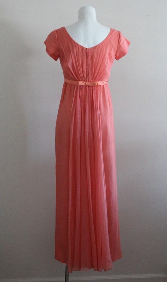 Vintage 1960s Silk Coral Chiffon Dress / Vintage … - image 4