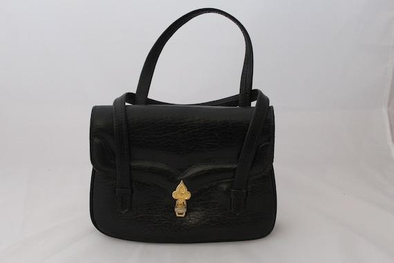 Vintage 1950s Black Italian Leather Purse / Vintag