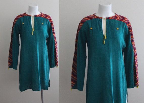 Vintage 1970s Indian Cotton Tunic / 70s Cotton Tun