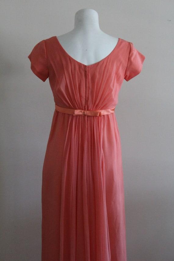 Vintage 1960s Silk Coral Chiffon Dress / Vintage … - image 5