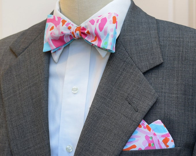 Men's Pocket Square & Bow Tie, pink/blues, abstract ocean theme, wedding party wear, groomsmen gift, groom bow tie set, pocket square